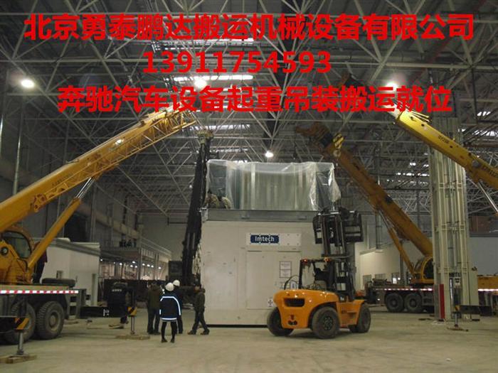 亦庄奔驰工厂60吨精密汽车设备吊装搬运下坑案例