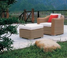 户外沙发躺椅-纯藤制午休躺椅,款式简单