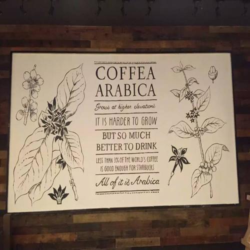 深圳星巴克咖啡馆手绘壁画_深圳今点墙绘艺术工作室图片