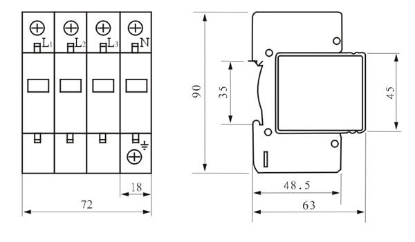 三:B级浪涌保护器Iimax60KA特点 1.残压低,漏电流小 2.热脱扣/熔断功能,响应速度快 3.插拔式模块化结构,安装/更换方便 4.标准35mm导轨安装 5.正常/失效显示,绿色(正常)、红色(失效) 6.可附加遥信报警装置 7.阻燃PBT外壳材料 8.劣化/失效显示,绿色(正常)、红色(失效),可附加遥信报警装置 四、外型尺寸: