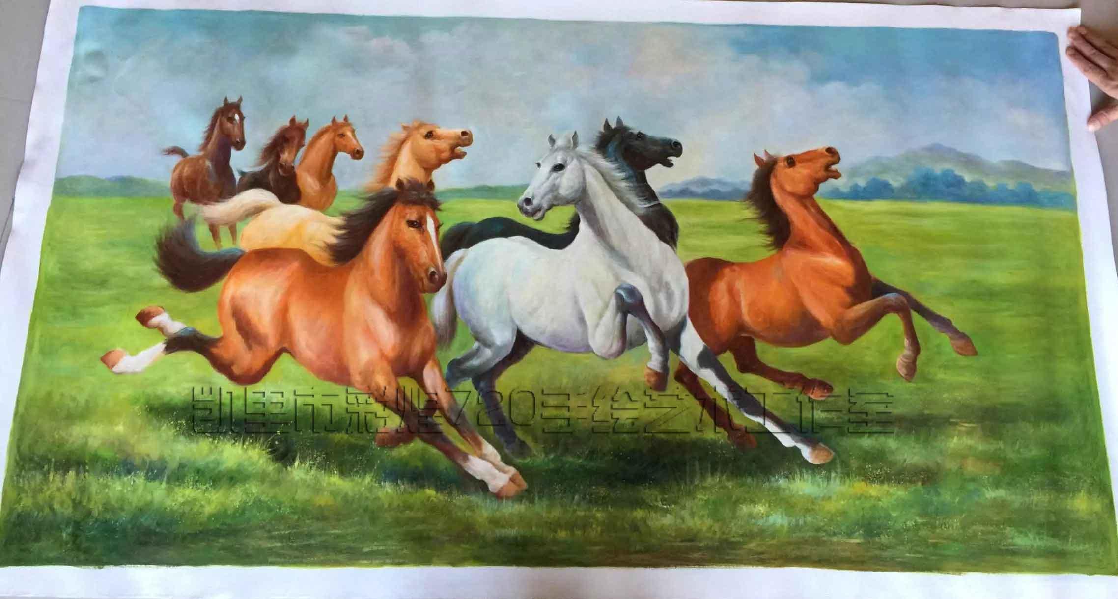 八骏马挂画