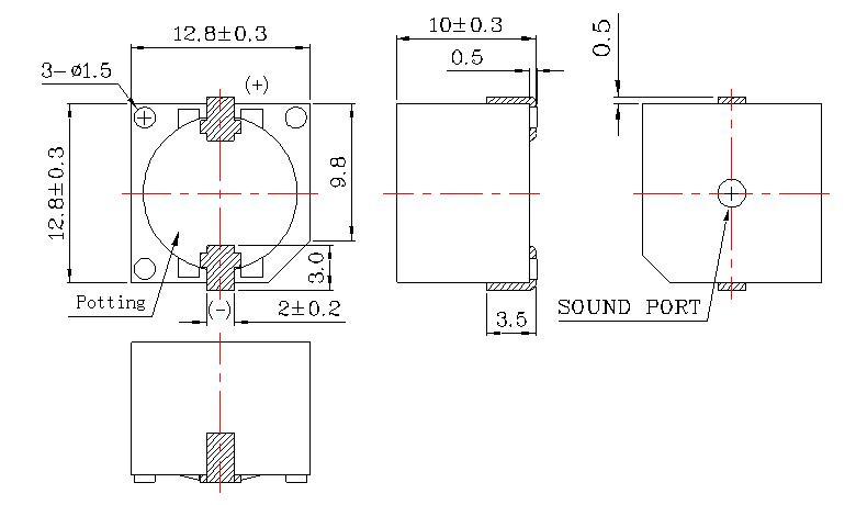 产品名称:BJPS-SMD贴片式无源蜂鸣器 BJPS-SMD贴片式无源蜂鸣器 产品名称: SMD贴片式无源蜂鸣器 产品说明: DIMEMSIONS Unit:mm Tolerance:0.5 mm 朴氏公司蜂鸣器特点:抗跌落,耐高温,低电流,节能。