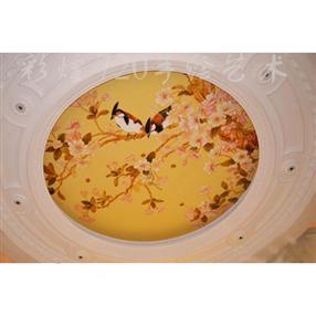 贵州黔东南家居天顶彩绘凯里天花板彩画-吊顶装饰-家装手绘背景墙-背景墙画-墙体彩绘