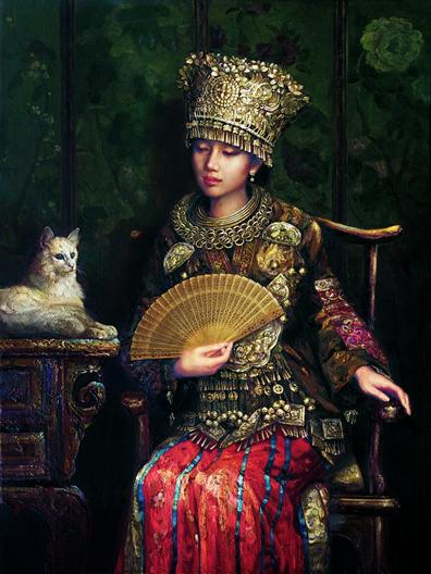 苗族女孩肖像画 少数名族美女手绘油画欣赏