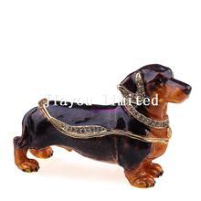 TBP0092Dachshund dog tabletop craft bejeweled trinket box gold