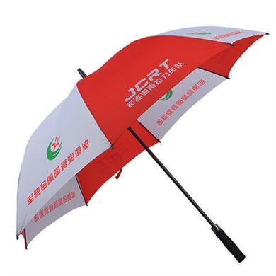 【太陽傘廠家】27寸全玻纖連體式按鈕高爾夫廣告傘