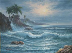 定制海浪手绘油画-海浪油画大全-凯里油画定制