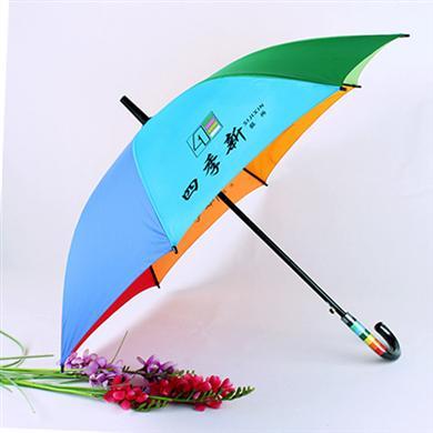 【深圳雨伞厂】23寸16骨(双骨)彩虹广告伞定做