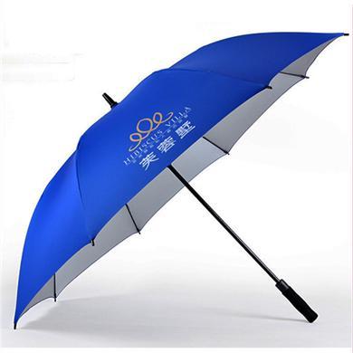 【深圳雨伞厂】30寸中段全玻纤碰击银胶布高尔夫广告伞