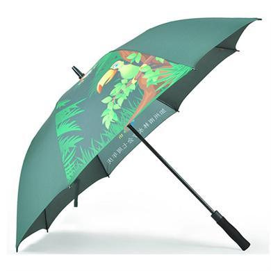 【雨伞厂家】27寸全纤维热转印高尔夫广告雨伞定做