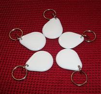 JTRFID4030水滴形白MIFARE1S50水晶钥匙扣ISO14443A协议IC异形卡M1水晶滴胶卡