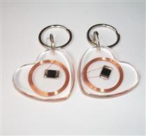JTRFID4038心形透明MIFARE1S50水晶钥匙扣卡ISO14443A协议IC异形卡