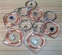 JTRFID2828菱形透明MIFARE1S50水晶钥匙扣ISO14443A协议IC异形卡M1水晶滴胶卡