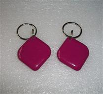 JTRFID2828菱形朱紅色MIFARE1S50水晶鑰匙扣ISO14443A協議IC異形卡M1水晶滴膠卡