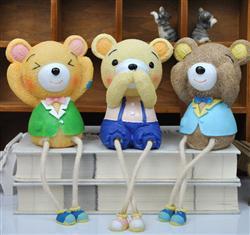 树脂工艺品三不熊吊脚娃娃大号可爱家居装饰品动物摆饰创意小摆件