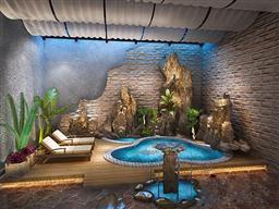 室內假山水池3D
