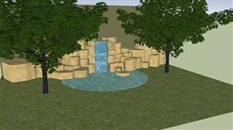 庭院假山魚池su模型