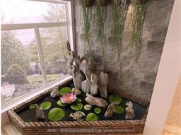 陽臺假山魚池3d模型