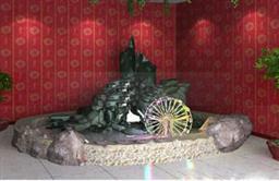室內假山噴泉3d模型