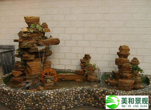 家庭千层石假山喷泉水池图片