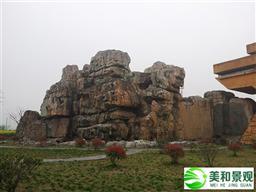 風景區水泥塑石假山圖片;參考價格:240元/平方米