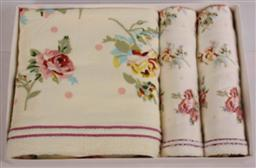 印玫瑰套巾三件套毛巾 -1084
