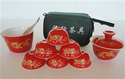 旅行茶具(红瓷金龙) -1003