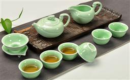 10头青瓷(金猴送福)茶具 -1003
