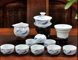 12頭高白三角杯茶具 -1003