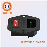 厂家供给三合一电源插座 品字座带开关带保险丝带灯 声响插座 开关色彩多选