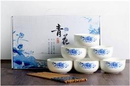 陶瓷青花碗筷套装6碗筷装