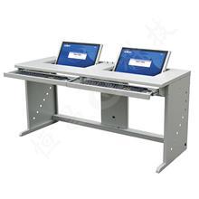 双人翻转式学生电脑桌,钢制翻转电脑桌,DNZ-5300