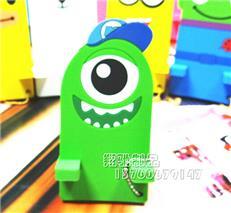 供应独眼手机座 小黄人手机座 PVC软胶手机座 可印LOGO