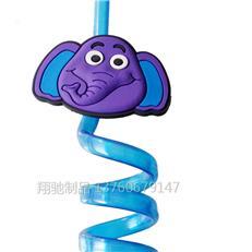 【可定制】卡通旋转透明 造型创意大象吸管 PVC动物卡通吸管