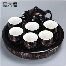 七头色釉双层茶具