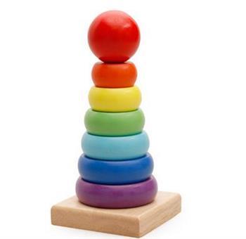 智力玩具七彩彩虹塔套圈套柱配对积木