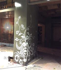 凯里市清江国际国贸手绘墙画餐馆餐厅彩绘苗族墙画少数民族元素壁画