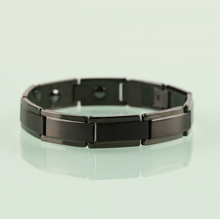 Men S Black Plating Tungsten Carbide Bracelet Inlay With Magnets