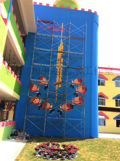 黔东南苗族幼儿园彩绘设计手绘墙画涂鸦第二篇-杆囊芦笙堂舞蹈设计施工过程拍摄
