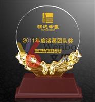 文博樹脂獎杯WB-170197樹脂麥穗五星獎杯深圳樹脂獎杯設計制作