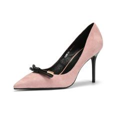 诗加美春夏新款羊猄皮真皮女鞋蝴蝶结单鞋尖头细跟高跟鞋