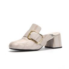 诗加美春夏新款粗跟高跟凉拖鞋女皮带扣包头拖鞋时尚穆勒鞋