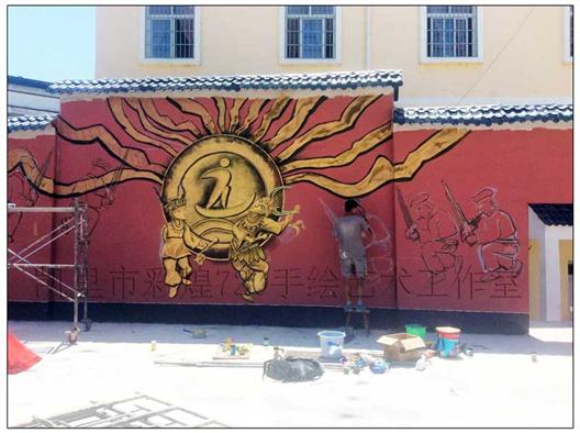 贵阳文化墙壁画公司——舟溪小学彩绘假浮雕墙体装饰艺术