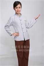 2017夏季新款职业工作服酒店保洁后勤服务员修身长袖套装制服定制