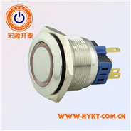 厂家直供开孔25MM环形带灯按钮开关 灯色多选带认证复位自锁功用