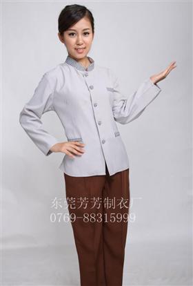 2017夏季新款職業工作服酒店保潔后勤服務員修身長袖套裝制服定制