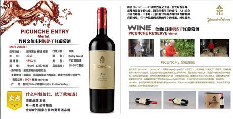 智利金仙庄园梅洛干红葡萄酒